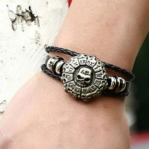 Skull Decor Braided Leather Bracelet Black 8.1""